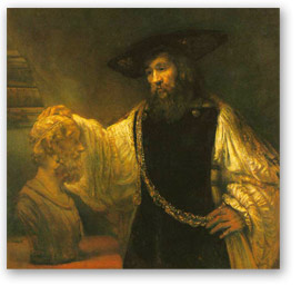 Rembrandt painting of Aristotle
