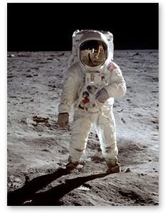 Buzz Aldrin on lunar surface